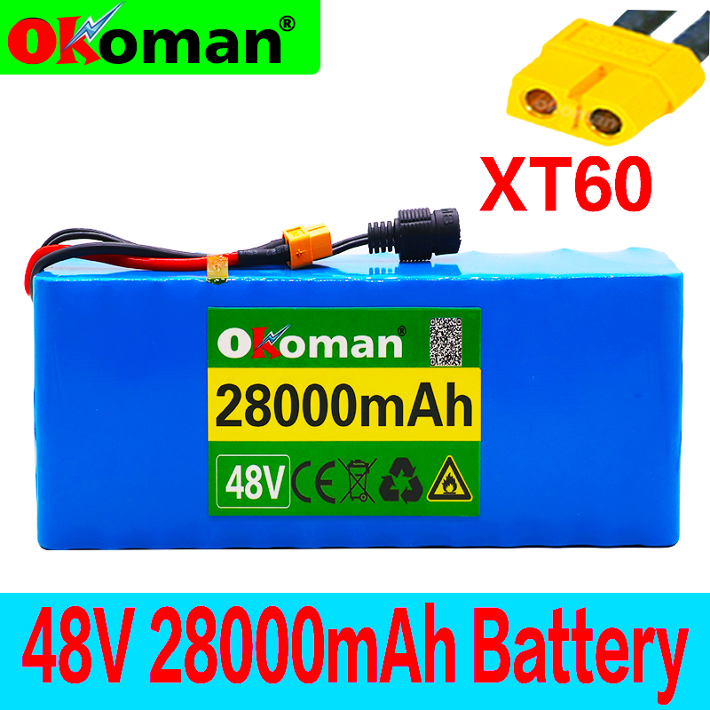 Аккумуляторная батарея 48 В 13s3p 28Ah, аккумулятор высокой мощности 1000 Вт, электровелосипед, BMS с разъемом xt60