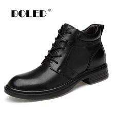 цена Plus Size Men Boots Genuine Leather Men Snow Boots Warm Fur&Plush Lace Up Winter Shoes High Quality Men Ankle Boots Shoes онлайн в 2017 году
