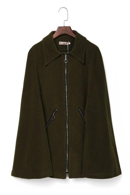 Models make EBAY trade big army green cloak silver zipper coat dust coat pocket spot
