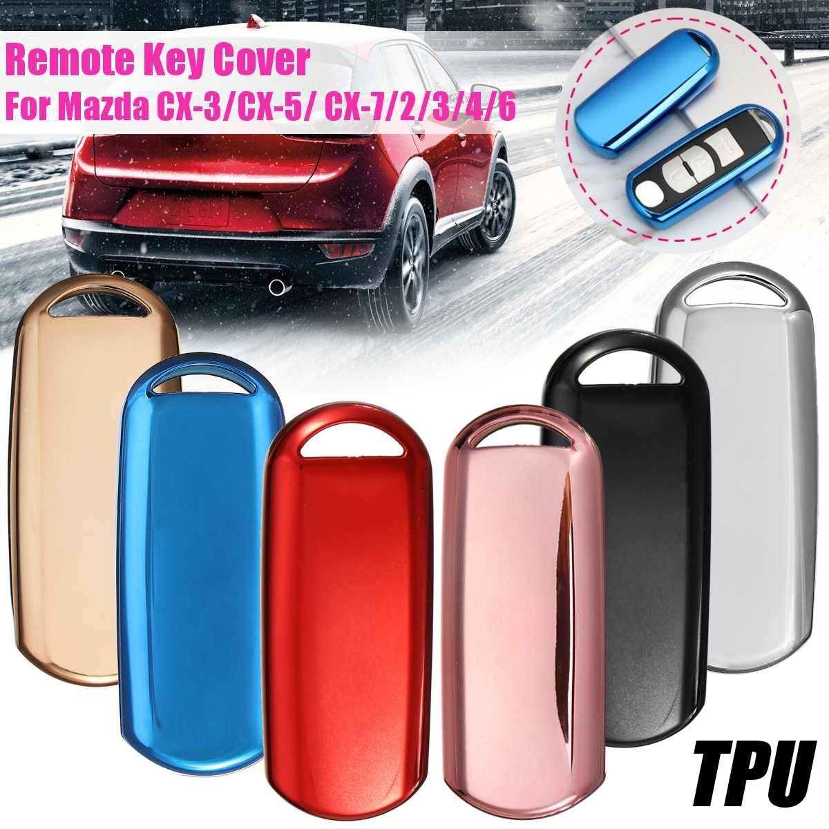 Car Soft Tpu Remote Key Cover for <font><b>MAZDA</b></font> 2 3 5 6 <font><b>Cx</b></font> 3 <font><b>Cx</b></font> 5 <font><b>Cx</b></font> 7 <font><b>Cx</b></font> <font><b>9</b></font> Mx 3 Mx 5 323 Car Styling Shell Case Protection <font><b>Accessories</b></font> image