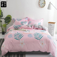 Bedding Set 4Pcs/Set Bed Textile Small Fresh Cute Print Cover Flat Bed Sheet Pillowcase Comfort Bed Set Kit Printed Modern flamingo random print bed sheet set