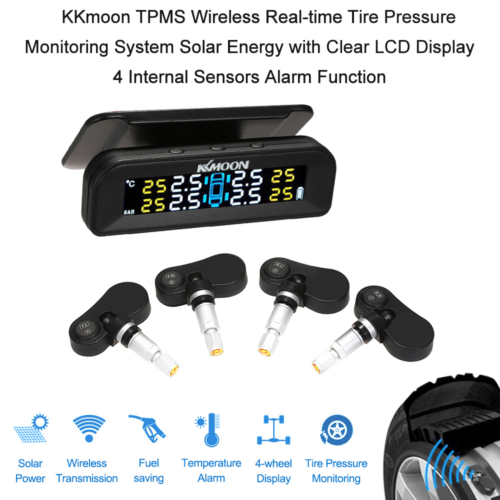 Auto Car TPMS Wireless pressure gauge Tire Pressure Monitoring System Real-time Solar TPMS LCD Display 4 Sensors Alarm(China)
