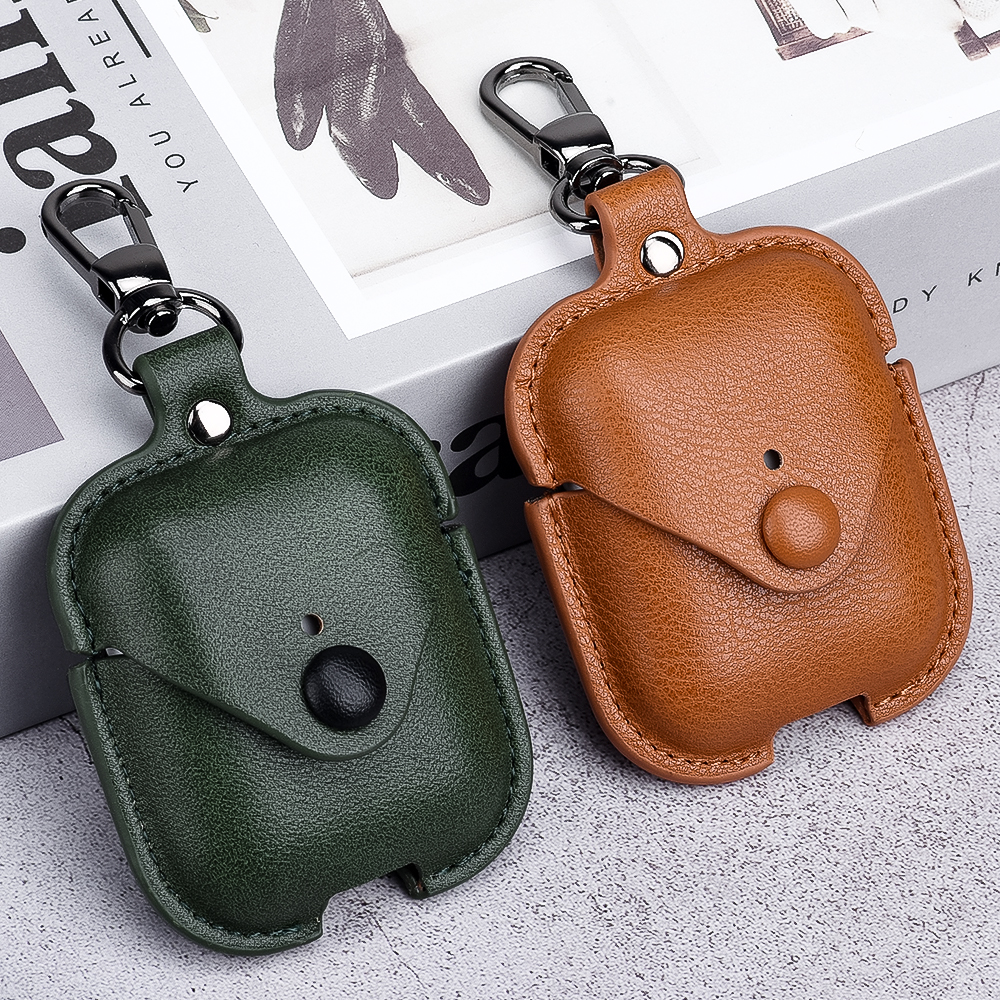 Luxury Soft For Apple Airpods Case Accessories Luxury Leather Case For AirPods 2 pro Earphone 1 Black Cover With Keychain hook