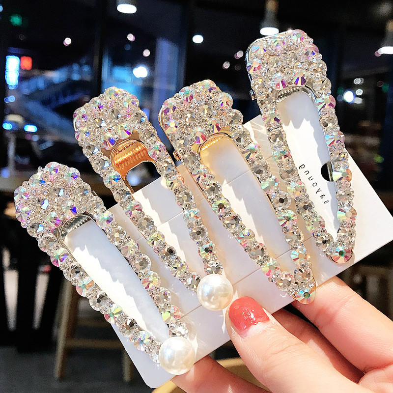 2019 New Fashion Women Crystal Pearl Hair Clip Hair Barrette Stick Hairpin Hair Styling Accessories For Women Girls Gift