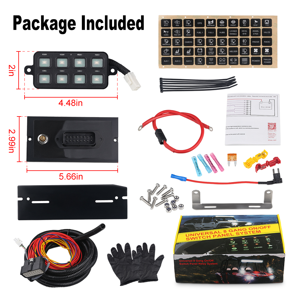 DC12V-24V 100A 8 Gang Led Schalter Panel Mit Download Montage Software Power System Telefon Control Switch Panel Für Auto Lkw