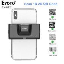 Eyoyo EY-022 2D Bluetooth Barcode Scanner Wireless Back Clip-on Phone Bar Code Scanner Adjustable for 1D QR PDF417 Code Reader
