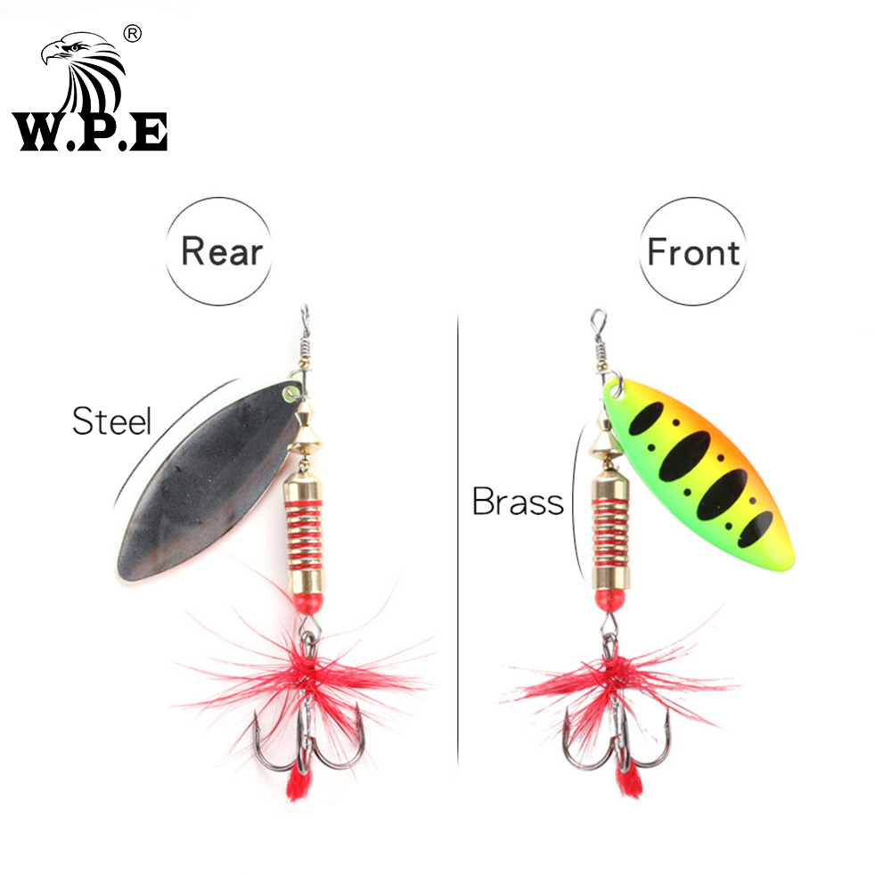 W.P.E Brand Spinner Lure 1pcs 6.5g/10g/13.5g 18 color with Treble Hook Metal Spoon Lure Hard Fishing Lure Fishing Tackle Bait 2