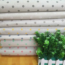 Floral Printed Cotton Linen Fabric DIY Sewing Canvas Material Beige Cloth For Curtain Tablecover Pillowcase