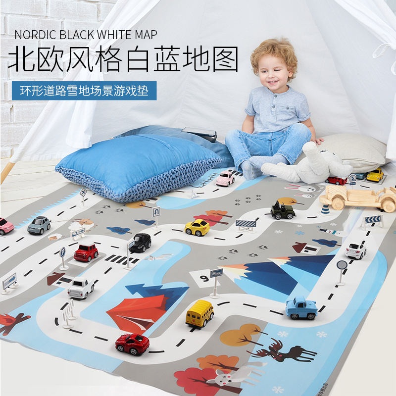 Cross-border toy ins northern European white blue <font><b>130*100cm</b></font> children's traffic parking lot map car carry-on game pad image