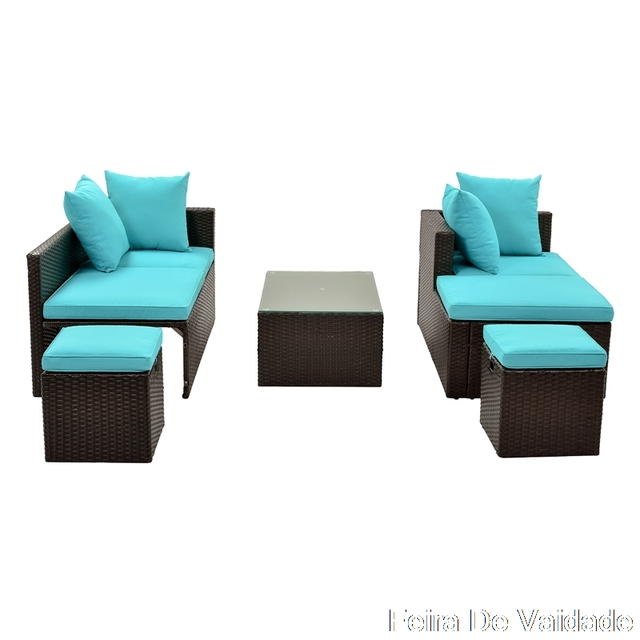 5-Piece Patio Furniture Set with Glass Table and Adjustable Chair 5