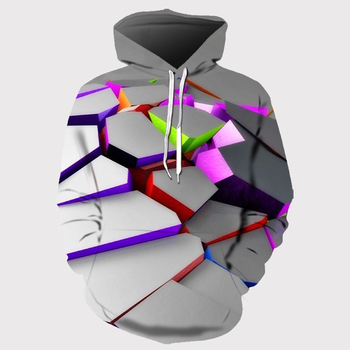 2020 new irregular hoodie men and women spring and autumn printing hit color block 3D sweatshirt hoodie hoodie wholesale men cut and sew panel hoodie
