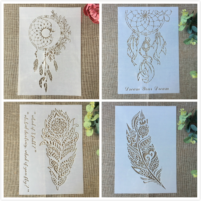 4Pcs 29cm A4 Feature Wheel Tassel DIY Layering Stencils Painting Scrapbook Coloring Embossing Album Decorative Card Template