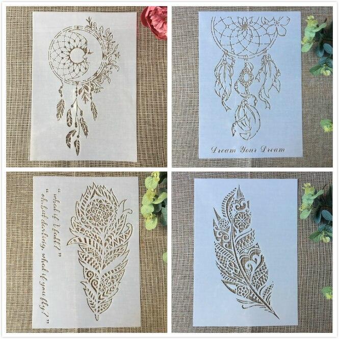 4Pcs 29cm A4 Feature Wheel Tassel DIY Layering Stencils Painting Scrapbook Coloring Embossing Album Decorative Card Template