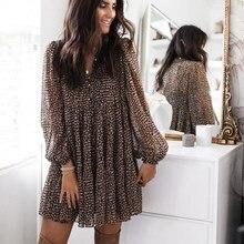 Lanterne manches Dot imprimer volants femmes robe 2021 décontracté col en v à manches longues bouton Mini robe dames élégant robe de soirée Vestido