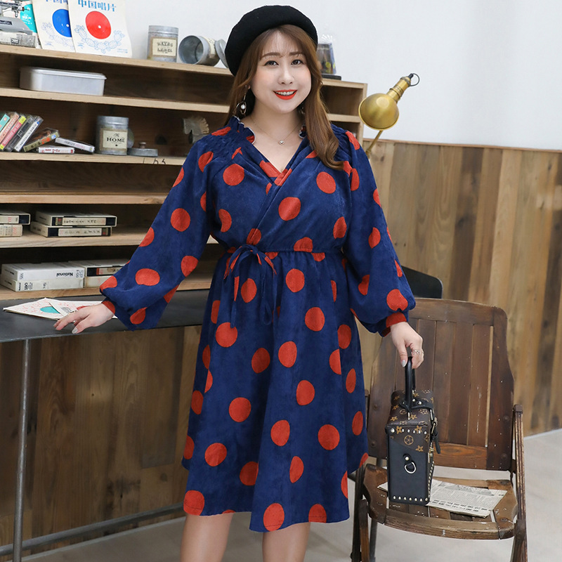 2019 Spring Clothing New Products Plus-sized Extra Large WOMEN'S Dress Large GIRL'S Da Bo Dian Light Retro Dress Y026 K
