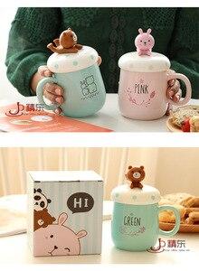 Image 5 - OUSSIRRO taza de cerámica con dibujos de animales para parejas, taza de café, leche, taza de oficina, cuchara con tapa