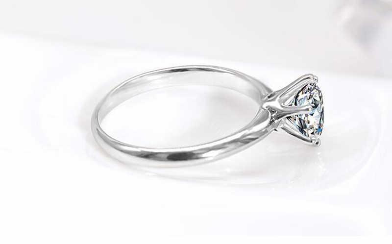 YANHUI Con Certificato Solitaire Anello Reale 925 Sterling Silver 7 millimetri 1.5ct Sona Diamante Fascia di Cerimonia Nuziale Anelli di Donne Gioielli Da Sposa