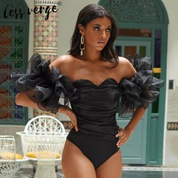 Mesh ruffle off shoulder sexy bodysuit Women backless bodycon black bodysuit top Summer beach ruched elegant  jumpsuit romper