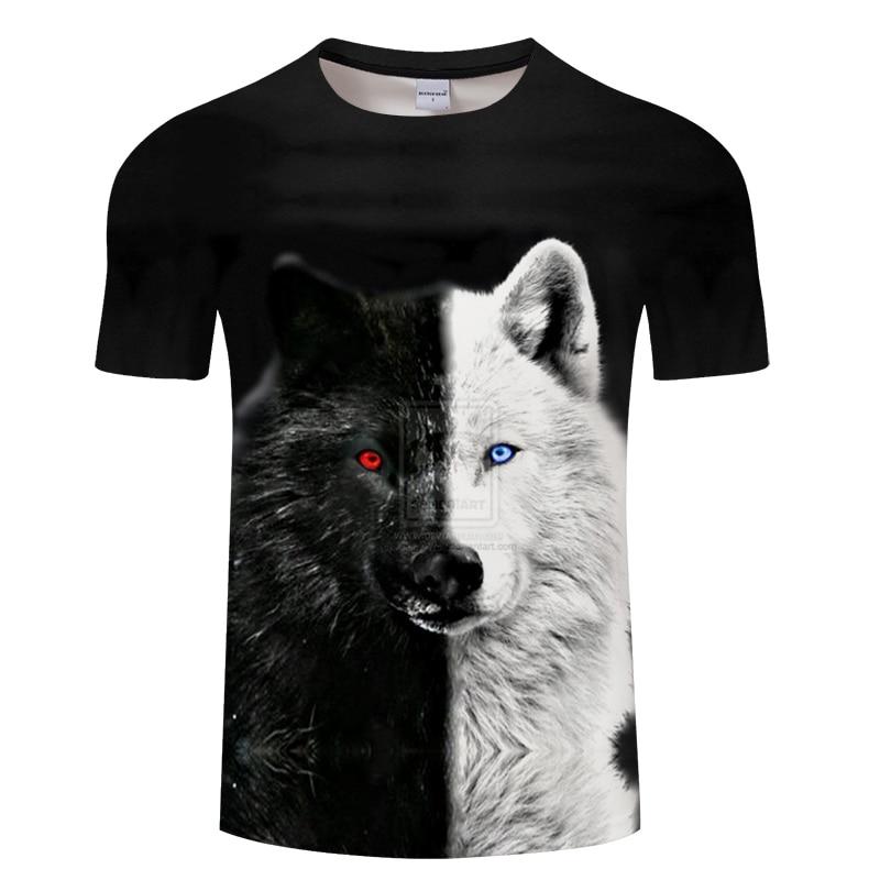Yin And Yang Wolf Men Tshirt Streetwear Black T Shirt Casual 3D Pinted T-shirt Fashion Harajuku Tee Tops Short Sleeve Unisex