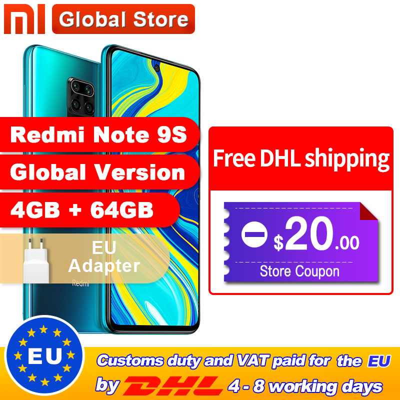 Global Version Xiaomi Redmi Note 9S 64GB 4GB smartphone Snapdragon 720G Octa core 5020 mAh 48MP Quad Camera Note 9 S(China)