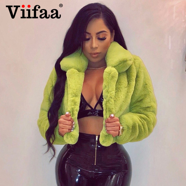 Viifaa Rose Red Solid Open Front Fuzzy Crop Faux Fur Coat Women 2019 Winter Fashion Outerwear Fluffy Fake Fur Coats Jackets