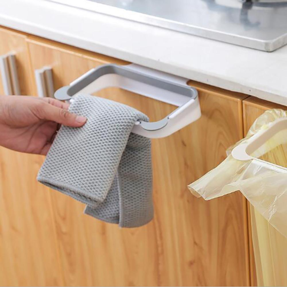 Cupboard Door Back Hanging Trash Rack Storage For Kitchen Garbage Rubbish Bag Can Holder Hanging Kitchen Cabinet Trash Rack Tool