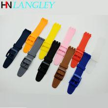 Jelly pulseira de relógio de silicone, acessório de pulseira de borracha para relógio swatch 16/17/19/20mm suob704 suow701 gw164 gb274 sutb402