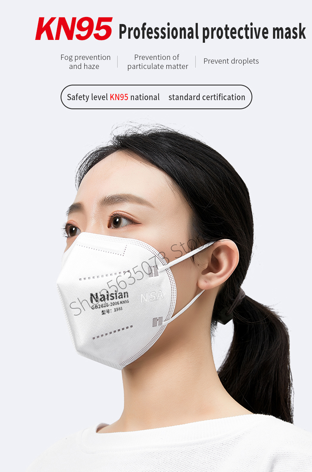 10/50/100ks Maska Respirator N95 FFP2 PM2.5 proti virům ...