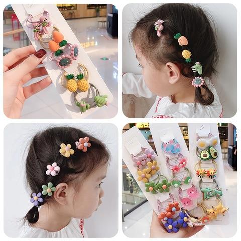 3/6/10Pcs/Set Girls Cute Cartoon Animals Fruit Elastic Hair Bands Scrunchies Ponytail Holder Headbands for Kids Hair Accessories Lahore