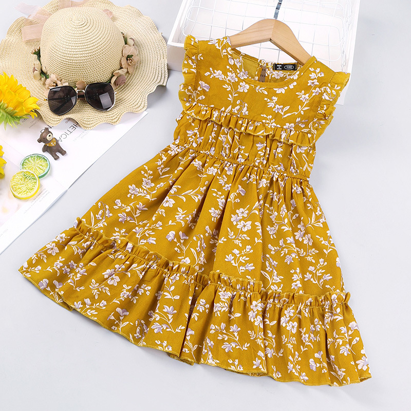 Ditsy Floral Print Ruffle Girls Princess Dress Summer Child Kids Round Neck Sleeveless Back Button Bohemian Dress for Girls New