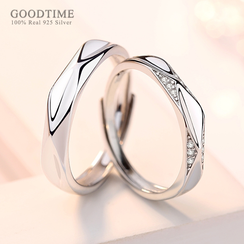 Fashion Couple Rings 100% Real 925 Sterling Silver Rings Zircon Wedding Rings Jewelry Accessories Valentine Gift For Wedding