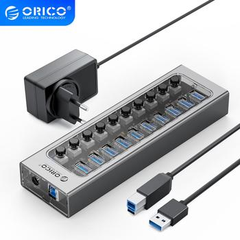 цена на ORICO USB 3.0 HUB Multi 7 10 13 16 Port Aluminum Transparent USB Splitter With 12V Power Adapter Switch for Industrial Computer