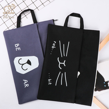 A4 Cartoon Cat Oxford File Folder 3 Colors Large Document Bag Office Stationery Business Briefcase Paper Storage Organizer Bag high quality simple oxford canvas a4 big capacity document bag business briefcase storage file folder for papers stationery