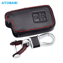 Leather Car Key Case For Toyota Auris Camry RAV4 Avalon Yaris Verso 2012 2018 2 Buttons Keyless Remote Fob Protector Cover Bag