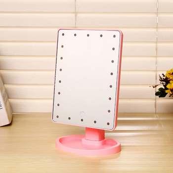 Makijaż lustro kosmetyczne z 16 22 LED Lights obrócony ekran dotykowy lusterko kosmetyczne Beauty Desktop Vanity podstawa stołu lustra tanie i dobre opinie Wyposażone Makeup Mirror Podświetlany