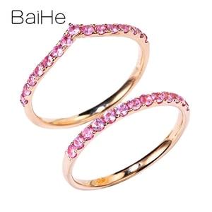 BAIHE Solid 14K розовое золото 0.34ct/0.36ct круглые натуральные розовые сапфиры обручальные ювелирные изделия красивые розовые сапфировые Подарочные ...