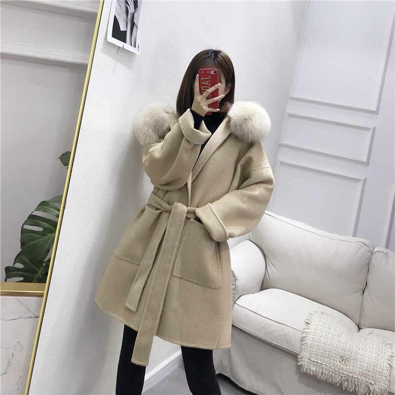 OFTBUY 2019 Real Fur Coat Winter Jacket Women Natural Fox Fur Collar Hood Cashmere Wool Woolen Overcoat Ladies Casual Outerwear
