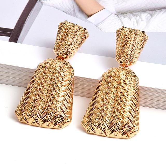Geometric Gold Metal Drop Earrings  1