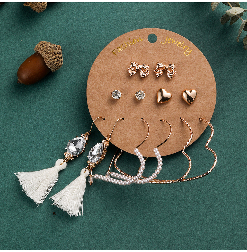 Bohemia Silver Earrings Set Vintage Ethnic Long Round Leaf Tassel Wedding Water Drop Earrings for Women Girls Statement Jewelry (1-1) (7)