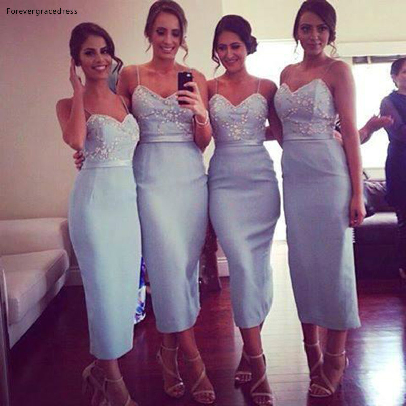 New Spaghetti Straps Sheath Bridesmaid Dress New Arrival Sweetheart Ankle Length Formal Maid Of Honor Gown Plus Size Custom Made