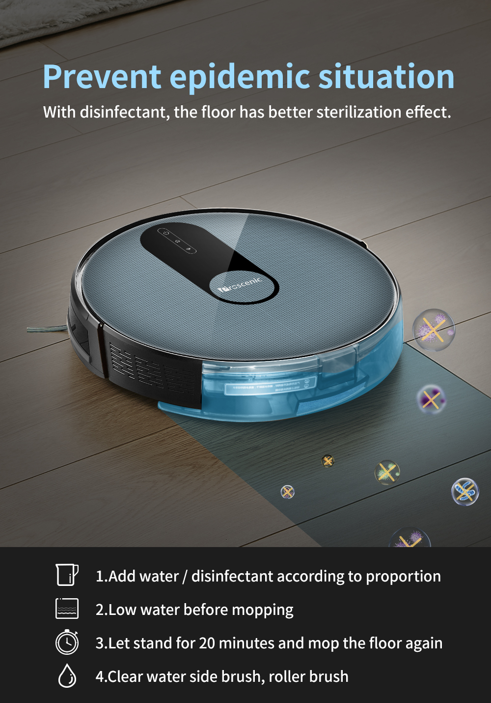 H8fff910683bb4e4598051c3b6b9aef4dg Proscenic 820P Robot Vacuum Cleaner Smart Planned 1800Pa Suction with wet cleaning for Home Carpet Cleaner Washing Smart Robot