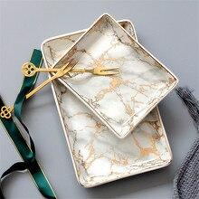 Северное золото Мрамор узор керамика поднос для хранения минималистский Десерт Фрукты драгоценность хранения Органайзер Декор