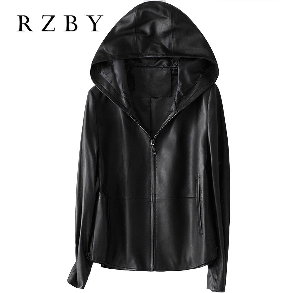 Женская куртка из 100% натуральной овчины RZBY, весенняя куртка с капюшоном, Модные Куртки из натуральной кожи, Chaqueta Mujer, высокое качество, 2020
