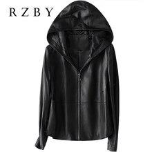 Rzby feminino 100% real casaco de pele carneiro com capuz jaqueta primavera 2020 moda couro genuíno jaquetas chaqueta mujer qualidade superior
