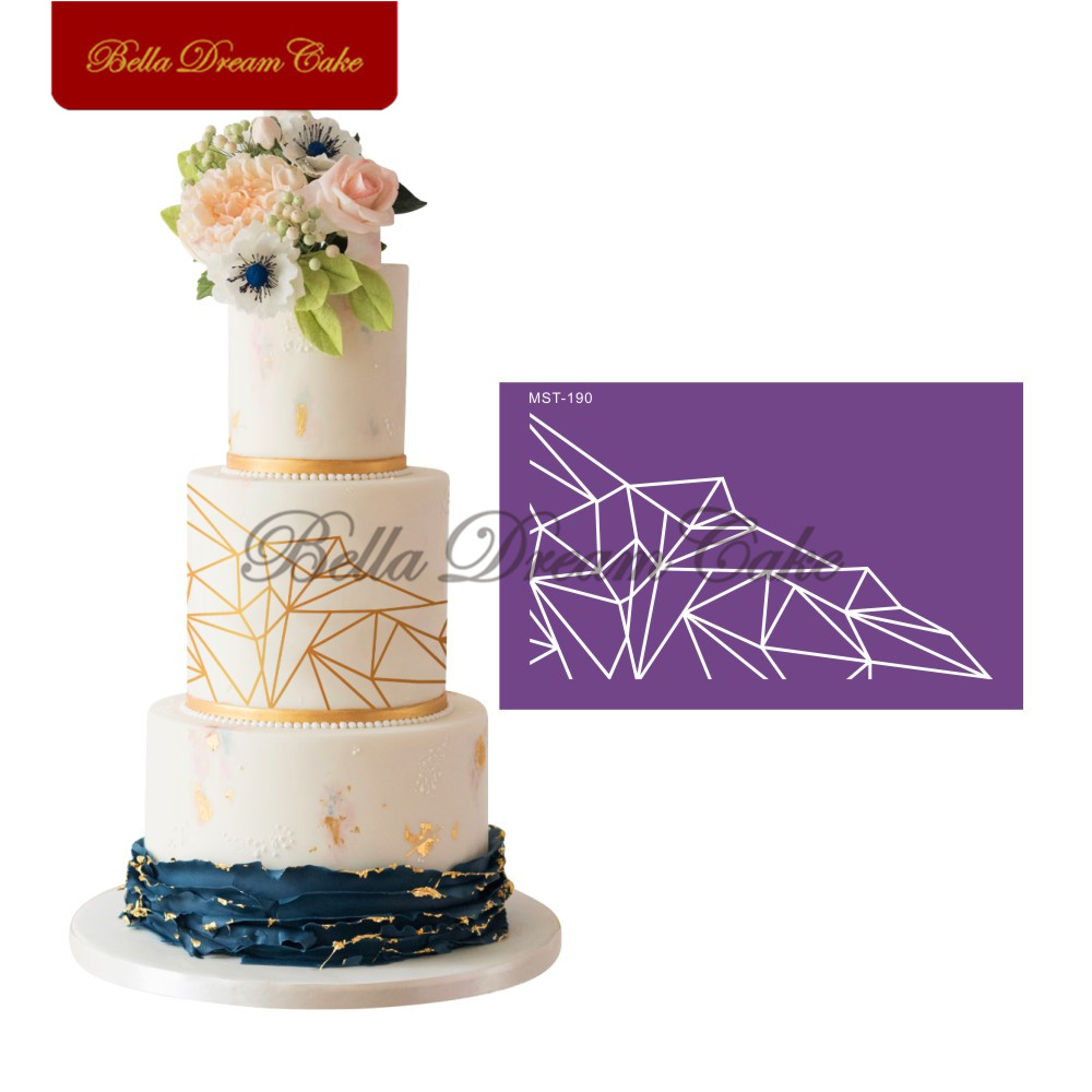 Polygon Lace Design <font><b>Cake</b></font> Stencil Fabric Mesh Stencils Wedding <font><b>Fondant</b></font> <font><b>Cake</b></font> Mold <font><b>Cake</b></font> <font><b>Decorating</b></font> <font><b>Tool</b></font> Kitchen <font><b>Accessories</b></font> image