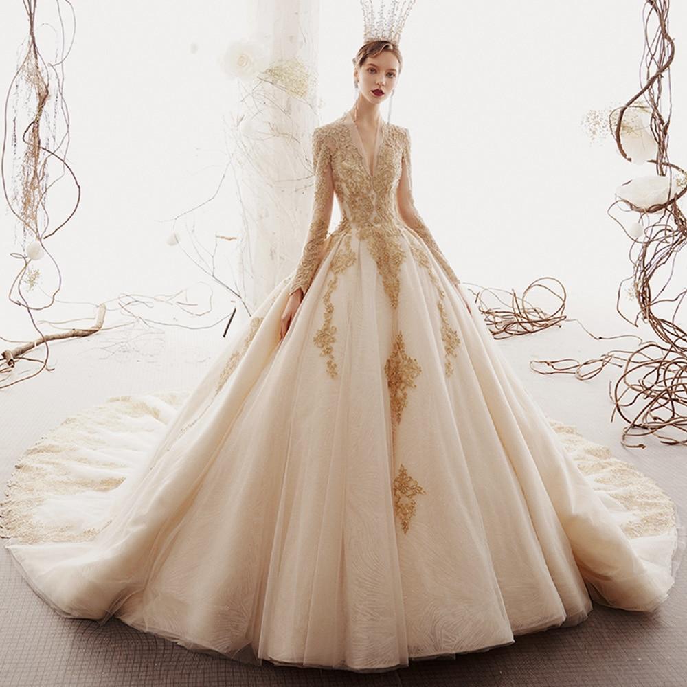 2020 Custom Made Princess Wedding Dresses Vestido De Casamento Gold Appliques Beading Long Sleeve Bridal Gowns Bruidsjurken(China)