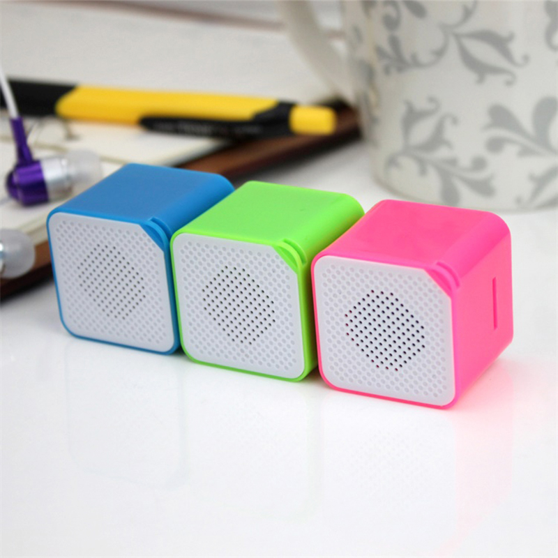 Fashion Portable Colorful MP3 Music Player Cube Shape Speaker Card Audio Shockproof Player Support TF Card