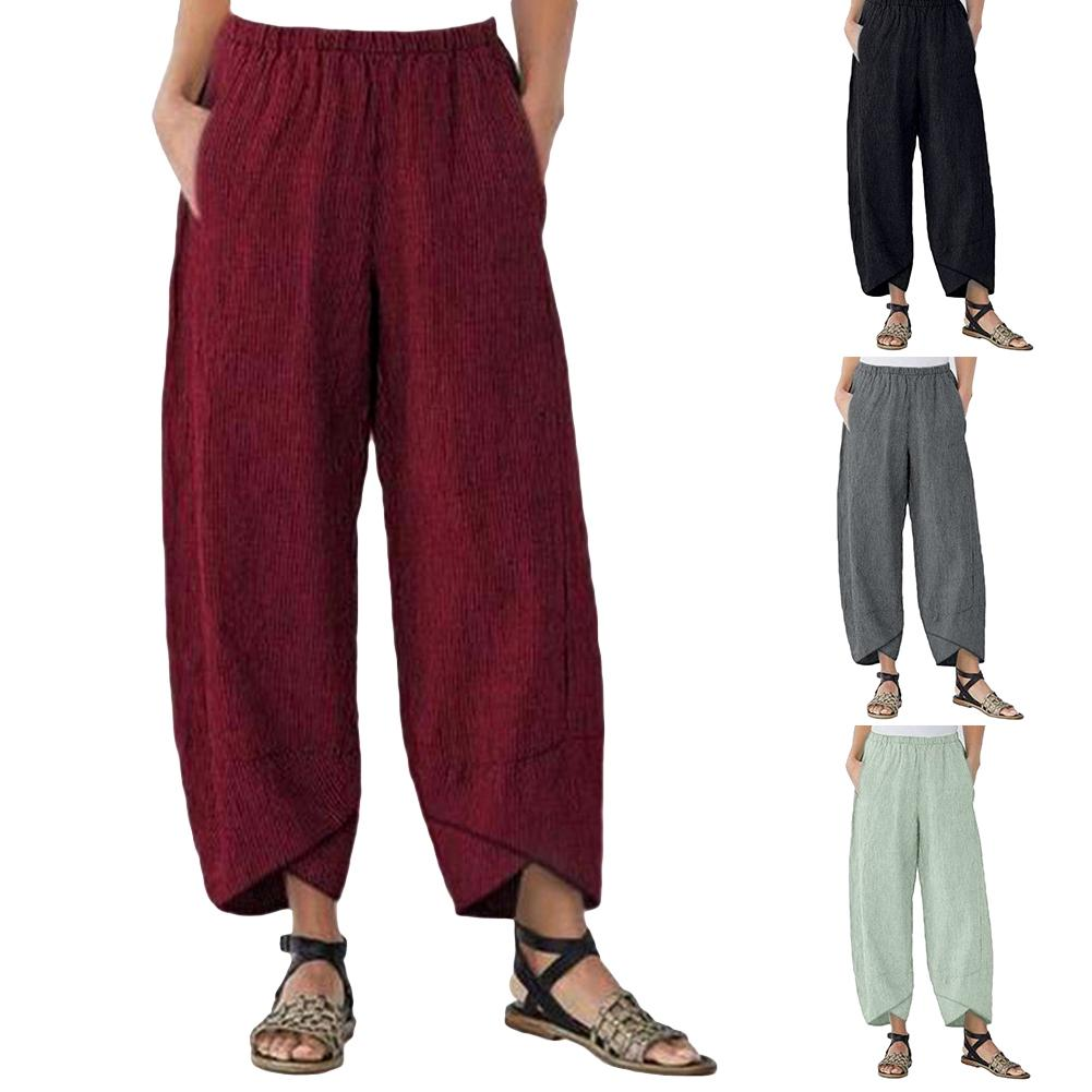 Retro Women Solid Color Pocket Elastic Waistband   Wide     Leg     Pants   Harem Trousers   Wide     Leg   Women Cargo   Pants   Women   Wide     Leg     Pants