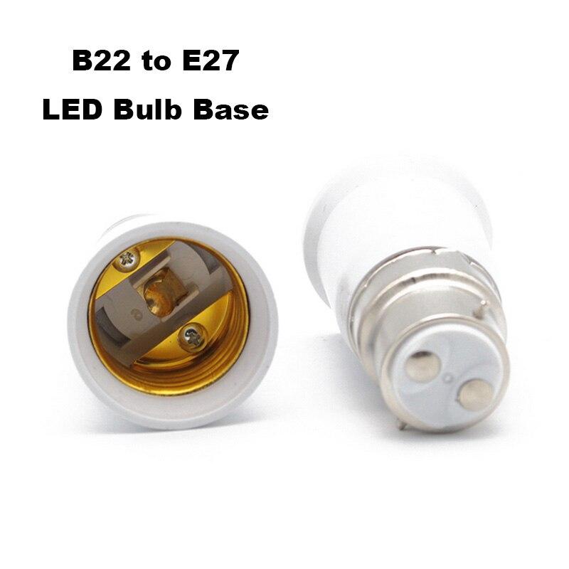 B22 To E27 Plastic Base Converter Bulb Extender Fitting Screw Sockets White Lamp Adaptor