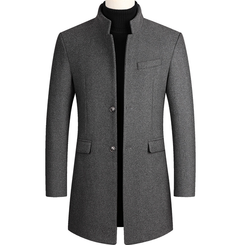 Thoshine Brand Winter 30% Wool Men Thick Coats Slim Fit Stand Collar Buttons Male Fashion Wool Blends Outerwear Jackets Trench
